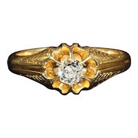 Antique Victorian Diamond Solitaire Ring in 18k Gold