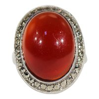 Vintage Art Deco French Carnelian and Marcasite Ring in Silver
