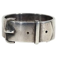 Antique Sterling Silver Wide Buckle Band Ring, Victorian Ring