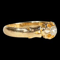 Antique Victorian Diamond Solitaire Ring in 18k Gold, Hallmarked Chester 1895