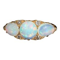 Impressively Large Antique Edwardian 3 Stone Opal and Diamond Ring in 18k Gold