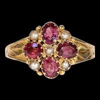 Antique Victorian Garnet and Pearl Cluster Ring, Hallmarked 1881