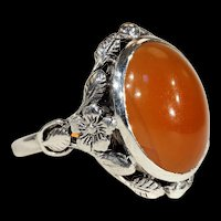 Vintage Arts & Crafts Carnelian and Silver Ring