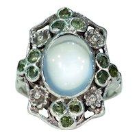Antique Moonstone Demantoid Garnet Ring Silver Arts and Crafts Era