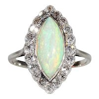 Edwardian Opal and Diamond Cluster Ring in Platinum Navette