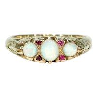 Vintage Opal Ruby Ring 18k Gold Hallmarked 1970