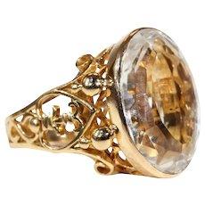 1950s Aquamarine Gold Ring Neoclassical