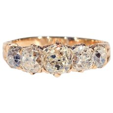 Victorian Five Stone Diamond Ring in 18k Rose Gold