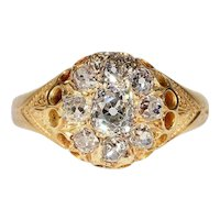 Victorian Diamond Cluster Ring Engagement Hallmarked 1874