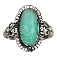 Antique Arts and Crafts Chalcedony Ring in Silver, c. 1910