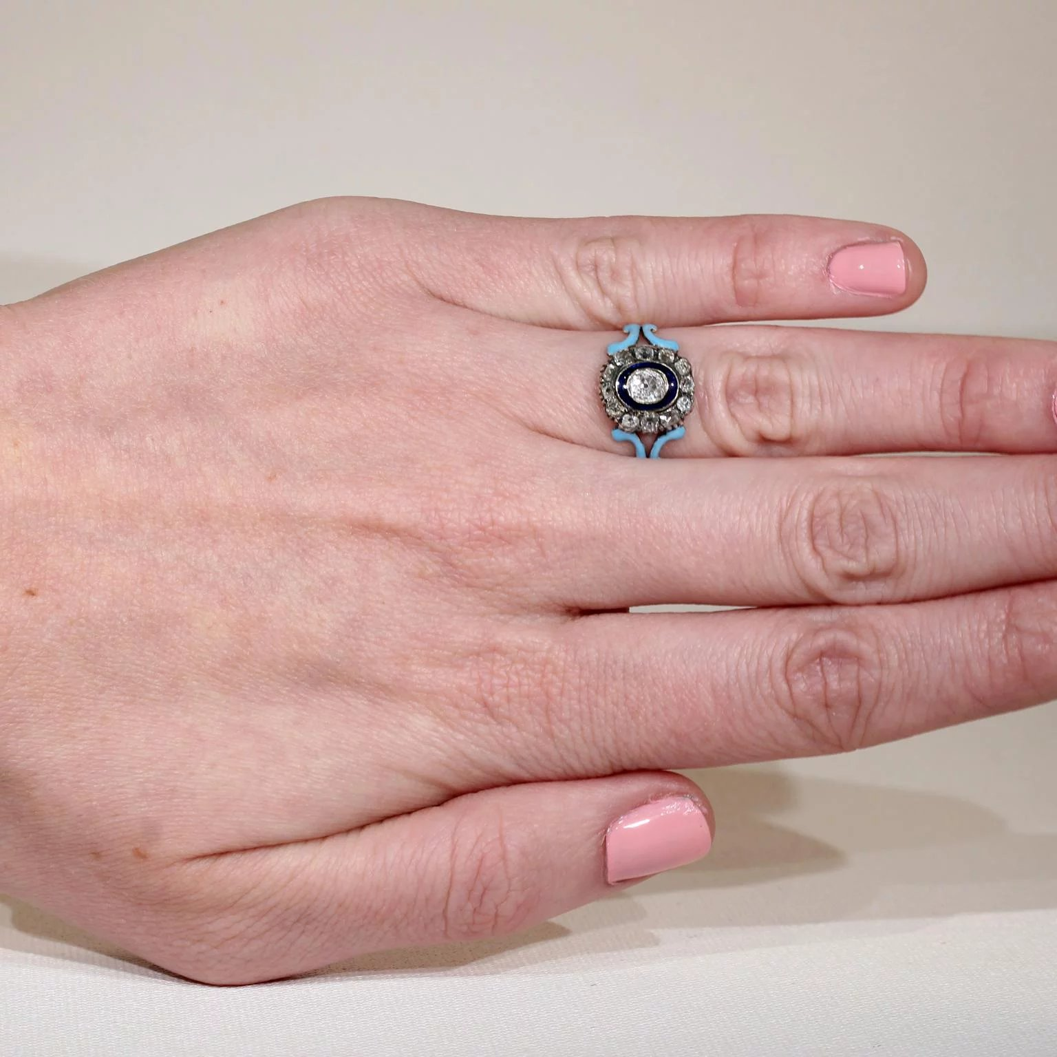 Antique Diamond Cluster Ring with Dark and Light Blue Enamel 1.4cttw ...