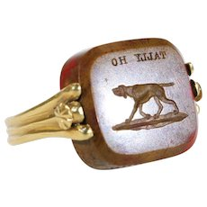 Victorian Flip Seal Ring with Dogs 'Tally Ho'!