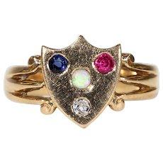Victorian Sapphire Diamond Ruby Opal Shield Ring