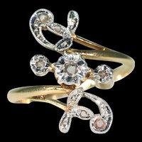 Lovely French Art Nouveau Diamond Ring