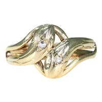 Antique French Double Snake Diamond Ring 18k Gold