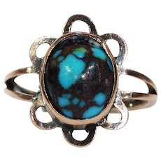 Zoltan White? C.1910 Antique Arts & Crafts Silver Turquoise & Coral Ring