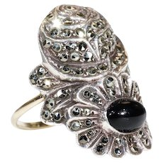 Art Deco Silver Marcasite Onyx Ring Gold Band Rose Daisy Flower