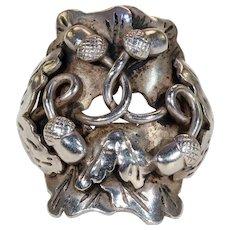Vintage Oak Leaves and Acorns Silver Ring