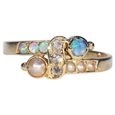 Victorian Opal Diamond Pearl 18k Gold Bypass Ring