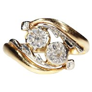 Vintage French Diamond Bypass Ring, 'Toi et Moi' in 18k Gold & Platinum