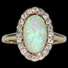 Edwardian Opal Diamond Cluster Ring 14k Gold