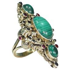 Antique Austro-Hungarian Malachite Garnet Ring in Silver Gilt