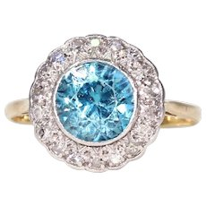 Vintage Blue Zircon and Diamond Ring in 18k White and Yellow Gold , c. 1960