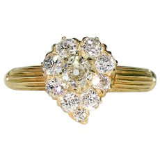 Victorian Diamond Witches Heart Ring in 18k Gold