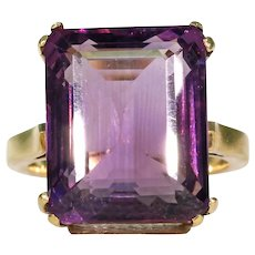 Vintage Amethyst Gold Cocktail Ring 16ct