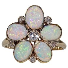 Antique Victorian Opal Diamond Flower Ring
