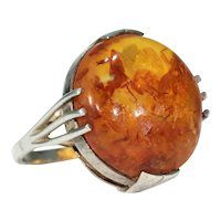 Silver Art Deco Large Amber Ring