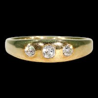 Antique Victorian Men's 3 Stone Gypsy Ring Wedding Band