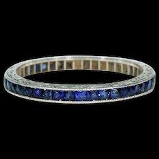 Art Deco Sapphire Eternity Band in Platinum