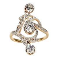Art Nouveau French Diamond Ring Gold Platinum