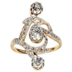 Antique French Diamond Ring, Art Nouveau in 18k & Platinum