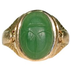 Art Deco Nephrite Jade Scarab Ring in Gold