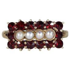 Vintage Gold Garnet Pearl Ring