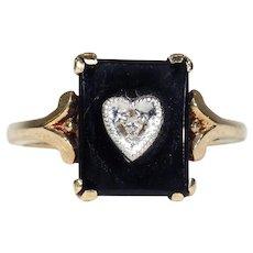 Vintage Art Deco Onyx and Diamond Ring Heart