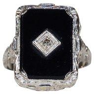 Art Deco Diamond Onyx Ring Filigree White Gold