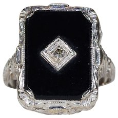 Art Deco Diamond Onyx Ring Filigree White Gold
