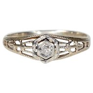 Vintage Diamond Filigree Ring c. 1920 Gold