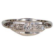 Vintage 5 Stone Diamond Ring White Gold