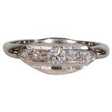 Vintage 5 Stone Diamond Ring White Gold