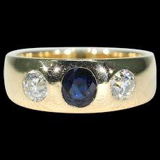 Antique Sapphire Diamond Gypsy Set Ring 18k Gold