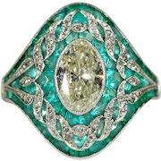 Fabulous Edwardian Emerald Diamond Platinum Ring