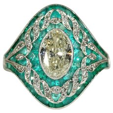 Fabulous Edwardian Emerald Diamond Platinum Ring