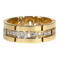 Funky 70s Vintage Diamond and Gold Eternity Band