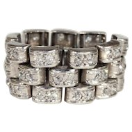 Art Deco Platinum Diamond Eternity Band Ring, Flexible, Sz 8.5-9.25, 2+ctw, *VIDEO*