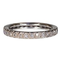 French Art Deco Eternity Band Ring White Gold Size 8