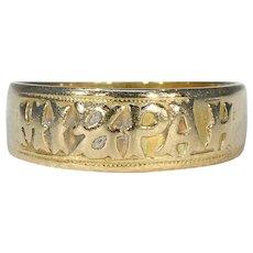 Edwardian Mizpah Band Ring 18k Gold Hallmarked 1904